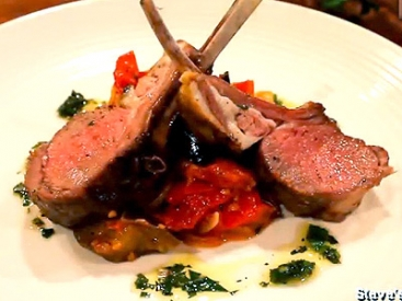 Roasted Rack of Lamb with Ratatouille and Mint Persillade